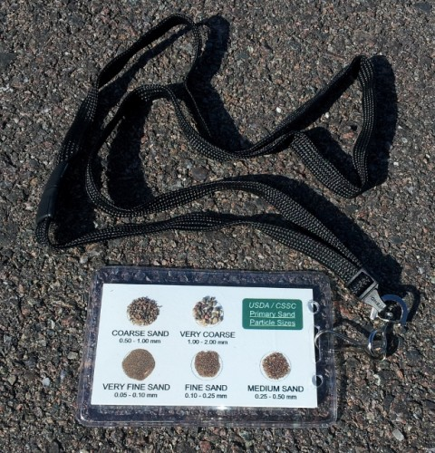ETC Sand Card in plastic sleeve with breakaway lanyard