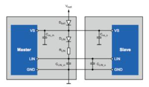 Standard 3-wire LIN configuration block circuit diagram